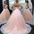 Rosa Puffy Vestido De Baile Longo Vestidos Baratos Vestidos De Quinceanera 15 Anos Branco Apliques 2016 Doce 16 vestido vestido de Baile Vestido de Festa Para Meninas