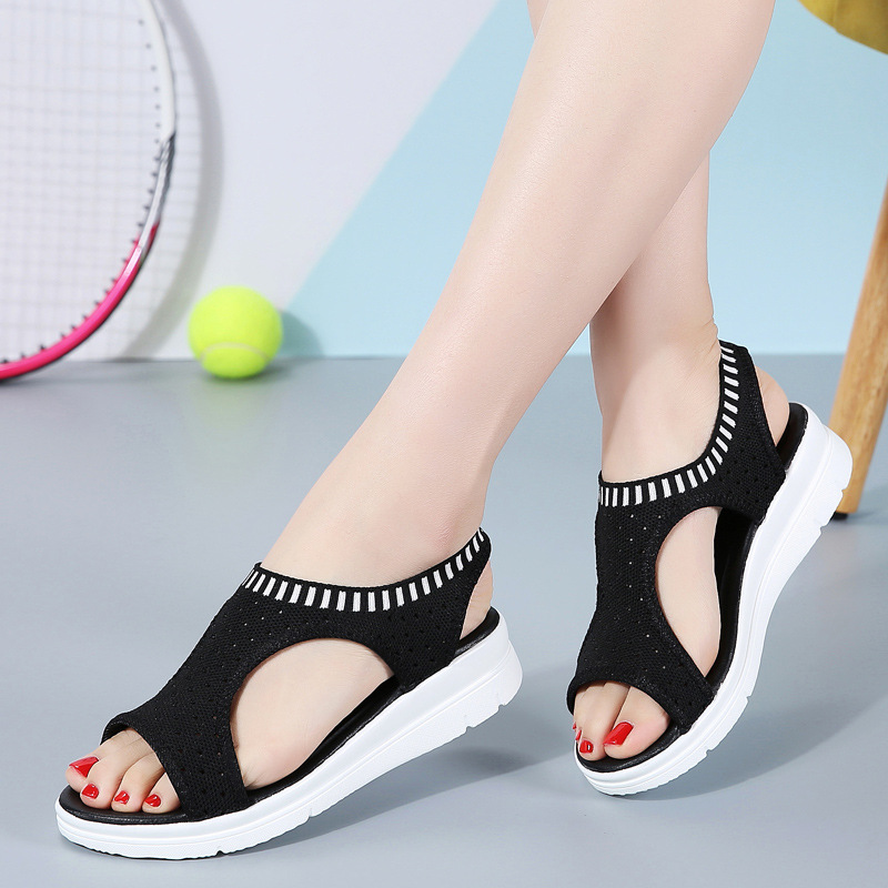Image 5 - dobeyping Stretch Fabric Women Sandal Soft Woman Shoes Summer Womens Loafers Breathable Beach Female Sandals Large Size 35 43Low Heels   -