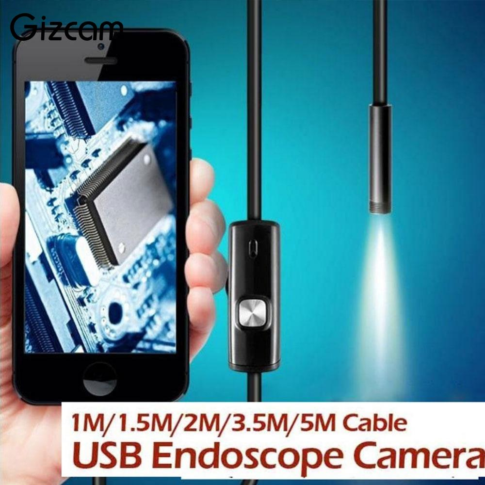 Gizcam 1 / 1.5 / 2 / 3.5 / 5M 7mm Endoskop Wasserdichte IP67 Android Endoskop Inspektion 6 LED-Röhrenvideo-Mini-Kamera