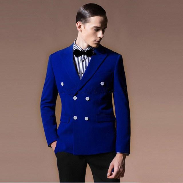 Men Suits Set Costume Royal Blue Double Breasted Blazer With Black Pants Suit For Wedding Prom Printing Coat Tuxedos