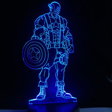 Hot Sale America Movie Figure Captain 3D USB LED Lamp Super Hero Hold Shield Touch Remote RGB Controller Kids Toys Gadget Decor