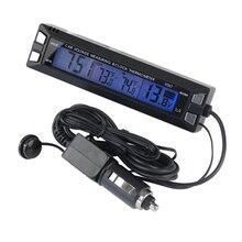Buy online Car LCD Digital Auto Thermometer Voltmeter Clock Volt Temperature Monitor Outdoor Indoor LCD Digital Blue Backlight Tester