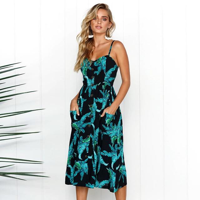 12bb4de768c7 Women s Sexy Spaghetti Strap V-Neck Summer Floral Bohemian Button Decor  Swing Midi Dress Beach Sundresses with Pockets