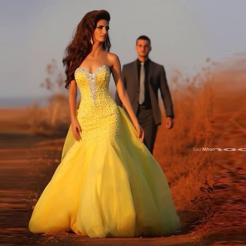 Online Buy Wholesale yellow mermaid prom dress from China yellow ...