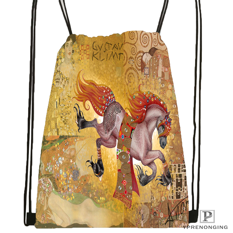 Custom Artist Gustav Klimt Drawstring Backpack Bag Cute Daypack Kids Satchel (Black Back) 31x40cm#180531-02-15