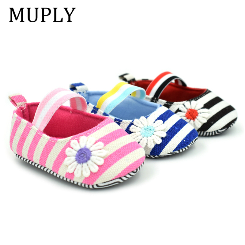 2020 Non-Slip Infant Baby Girl Shoes Striped Daisy Bebek Crib Shoes Air Permeability 0-18M Kids Toddler Shoes Soft First Walkers