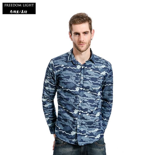 a6dbf1613c6 Men s Casual Shirt Slim Fit Long-sleeved Denim Shirt Men Camouflage Denim  Shirts Size M-XXL Autumn Shirt