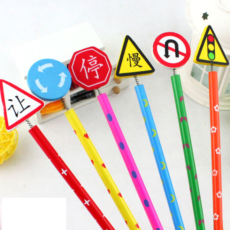 6Pcs/Lot New Wooden Creative Cartoon Traffic Warning Sign Pencil Stationery School Gift  ...