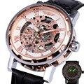 Ganador Skeleton Mano-viento Reloj Mecánico Unisex del Reloj de Las Mujeres Correa de Cuero Número Romano Display Negocio Vogue + Caja