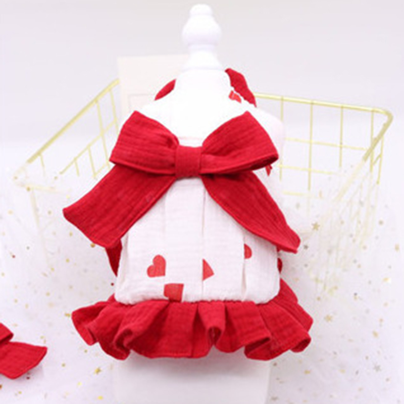 Pet Dog Dress Puppy 100%Cotton Clothes Handmade Red Big Bow Knot For Small Dogs Princess Bubble Dress French Bulldog Pug Skirt