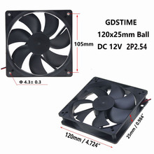 ФОТО gdstime 1 piece ball bearing 12cm dc 12v 120x120mm 0.45a 2pin 12025 3300rpm computer cpu cooler cooling fan 120mm x 25mm