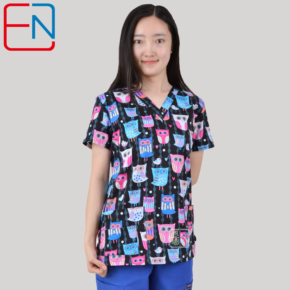 Considerate Brand Medical Scrub Tops For Women Surgical Scrubs,scrub Uniform In 100% Print Cotton Maotou Series High Quality Materials