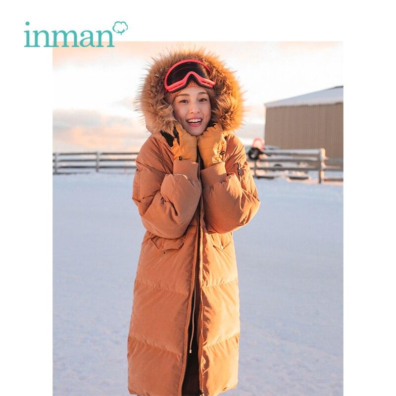 INMAN 2018 Inverno Nuovo Arrivo Collo di Pelliccia Con Cappuccio Allentato Causale Stile Caldo Donne Lungo Imbottiture Cappotto