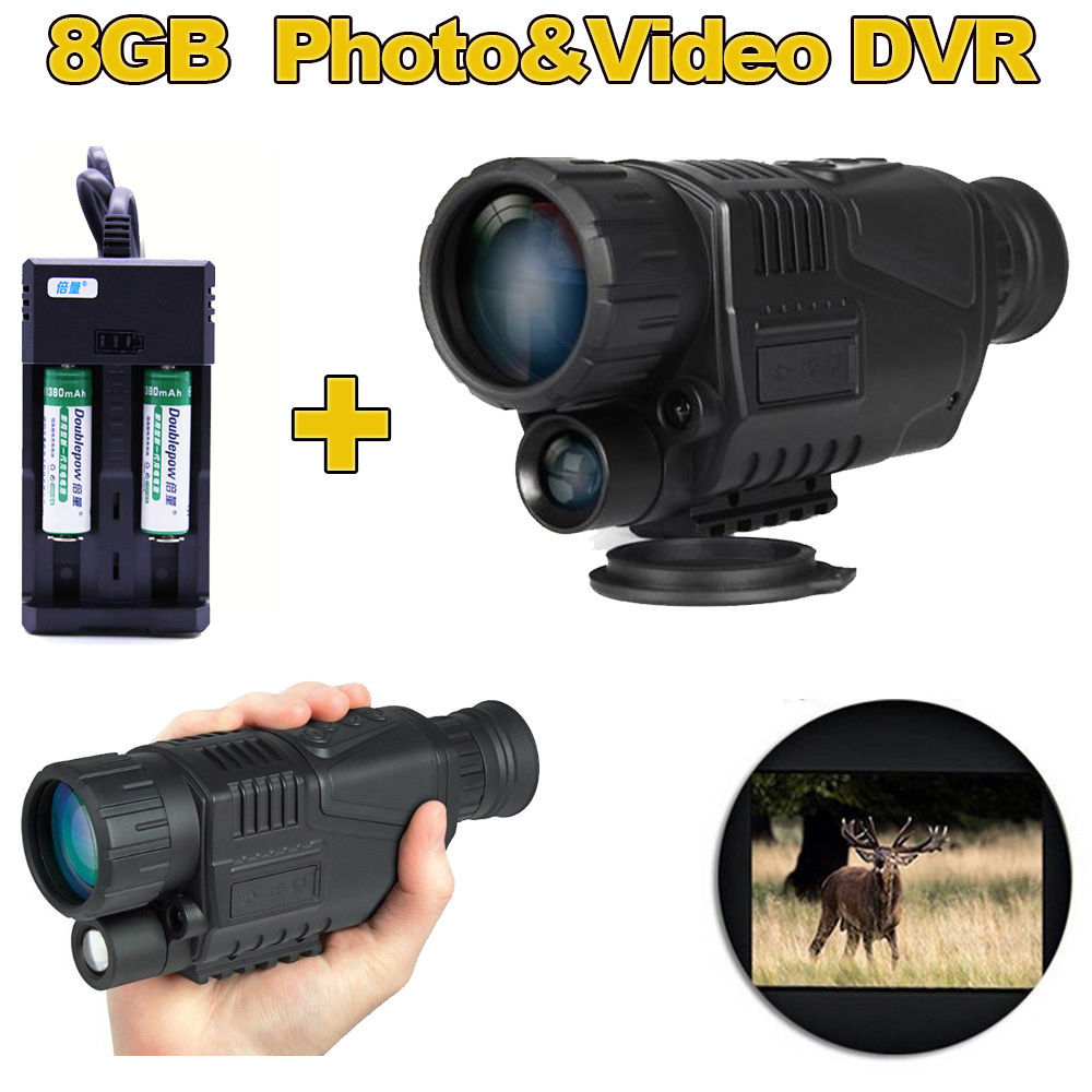 Digital Night Vision Monocular Video Photo DVR Recorder Binoculars 8GB IR Monocular Hunting Camera Device 2Pcs Battery Kit boblov digital nv100 night vision device scope monocular ir telescope video dvr lcd screen 4gb tf card 2x wildlife night hunting