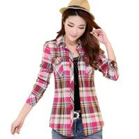 2016 Spring New Casual Shirt Blouses Plus Size Women Clothing 100%Cotton Long Sleeve Plaid Shirt Women Tops Blusas 8Colors Women Shirts