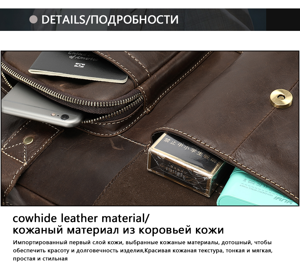 HTB1gW razzuK1Rjy0Fpq6yEpFXav WESTAL men's briefcase bag men's genuine Leather laptop bag office bags for men business porte document briefcase handbag 8503