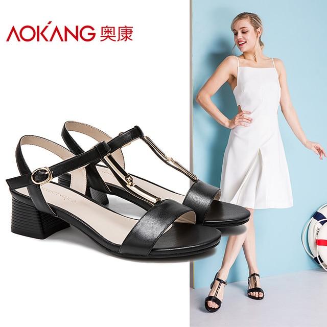 AOKANG 2017 Women Summer Shoes genuine leather shoes Fashion Summer Women's Sandals Women High heels shoes Free shipping
