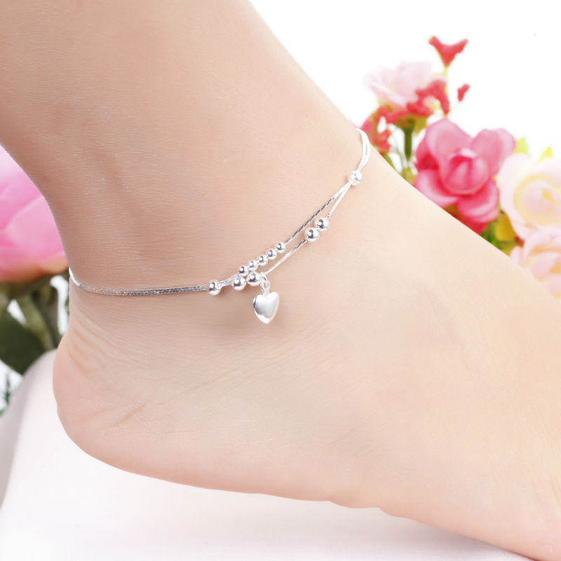 Fashion Jewelry Plated Silver Anklet Solid Heart Pendant Anklets High Quality Ankle Bracelet Factory Price Free Shipping MDA002
