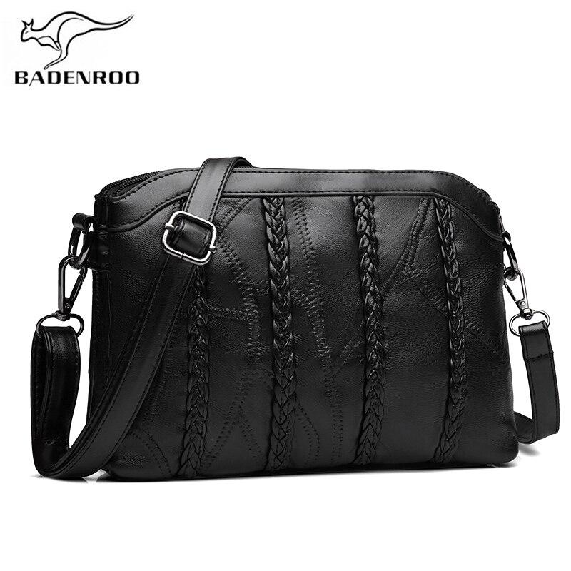 Bag Genuine Leather Weaving Shoulder