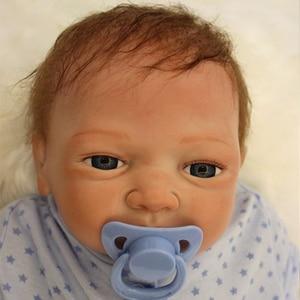 Image 2 - Boneca bebê bonito de 20 polegadas, 48 50cm, silicone macio, renascido de brinquedo menino ou menina, boneca para presente roupas azuis