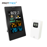 Alarm Clock Safe Weather Station Temperature Humidity Wireless Colorful LCD Display Barometer Weather Forecast Clock in/outdoor