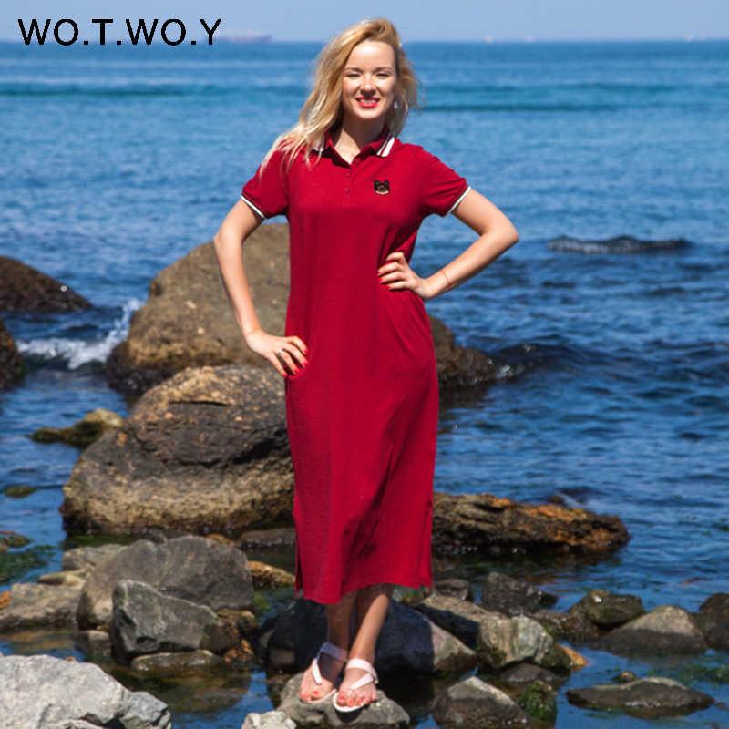 WOTWOY/2019 летние длинные платья-футболки, женские хлопковые платья с аппликацией из мультфильма и отложным воротником, прямое платье до щиколотки, женское черное