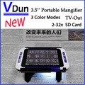 """NOVO Portátil Ampliador de Vídeo Eletrônico 3.5 """"Color LCD Bolso 2-32X Baixa Visão Lupa USB Cartão SD Ler"""