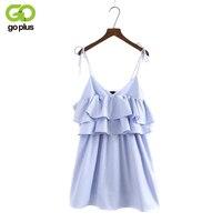 GOPLUS Ruffle Summer Dress Vintage Soft backless Mini dress Women causal V Neck Sleeveless Lace Up Beach Dress Vestidos C3906