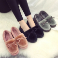 2017  women warm fashion winter slippers plush non-slip indoor slipper shoes women girls cute bow thicken soft home slipper