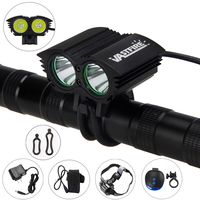 6000LM Bike Lights 2X LED Front Bike Headlight 2 In 1 Headlamp Flashlight With Blue Laser