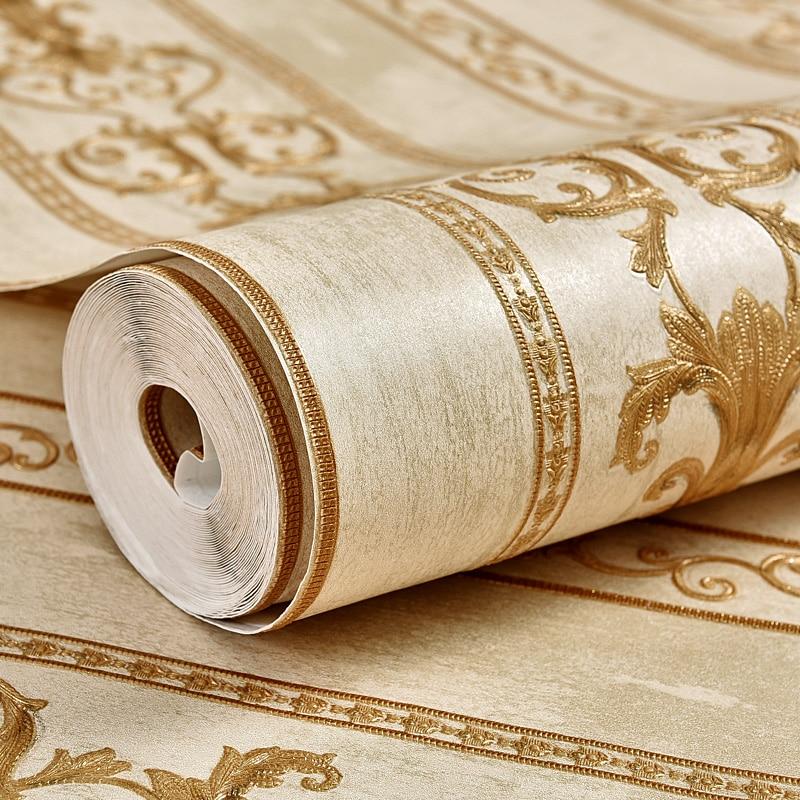 Купить с кэшбэком Euroean Vintage Strip Wall Papers Home Decor Floral Wallpapers Roll for Living Room Bedroom Walls Decorative carta da parati