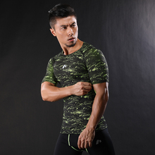 2017 New Bodybuilding and Fitness Mens Short Sleeve  T-shirt GymS Shirt Men Muscle Tights Gasp camouflage Compression Shirt