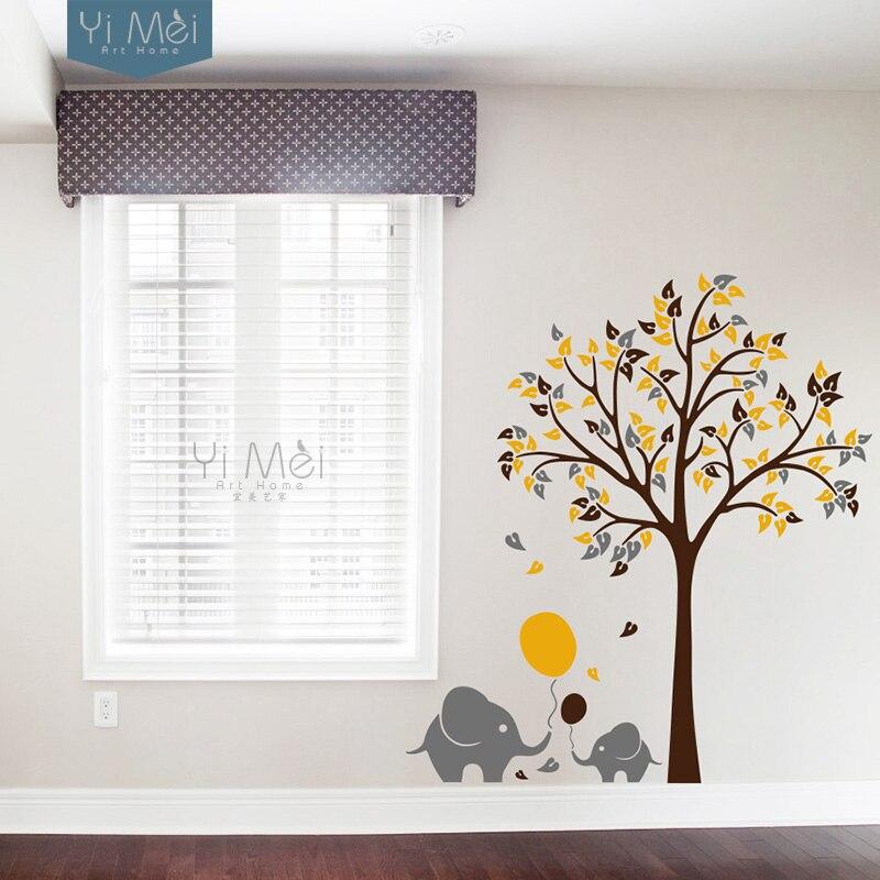 Fil Balon Ağacı Çocuk Oturma Odası Kreş Duvar Çıkartması - Ev Dekoru - Fotoğraf 4