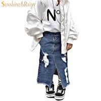 Bebek Tutu Etek Kız Denim Etek Düzensiz Için Ripped Kot Etek Toddler Kız Parti Kostümleri Çocuklar Için Çocuk giyim