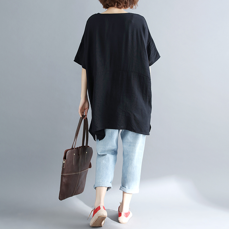 BIG SIZE 5XL 2019 Summer Women Fashion Elegant Cartoon Print Tops Lady Female Large Sleeve Oversize Loose Cotton Split T shirt 6