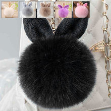 2019 Charm Plush Keychain Hanging Cute Rabbit Ears Faux Fur Bags Accessories Hairy Balls Pendant Key Chain Women Gril Key Ring faux fur decorated pu sneakers with cute ears