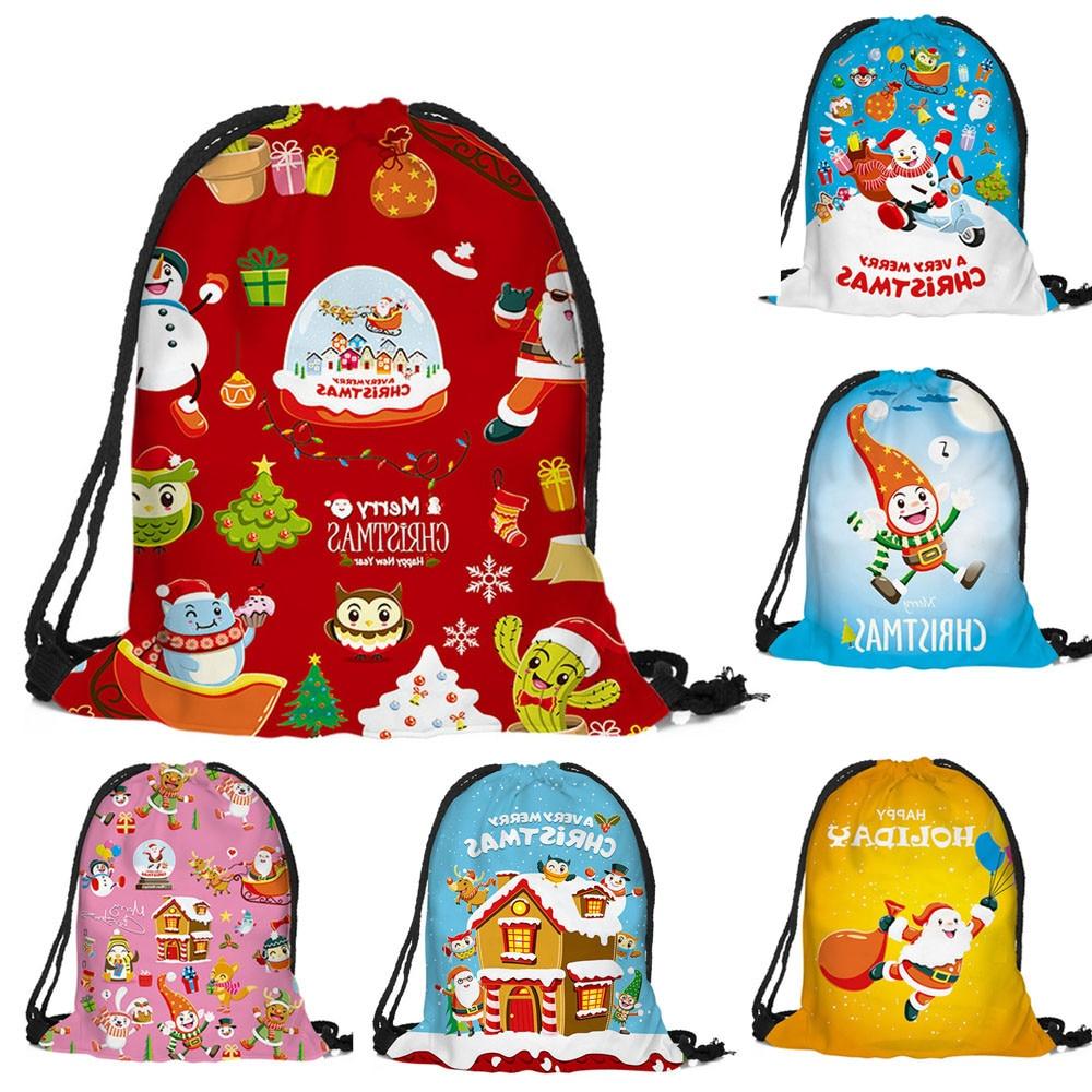 Sleeper #4001 Merry Christmas Printed Bags Backpack Candy Gift Bag Bundle Pocket For Kids