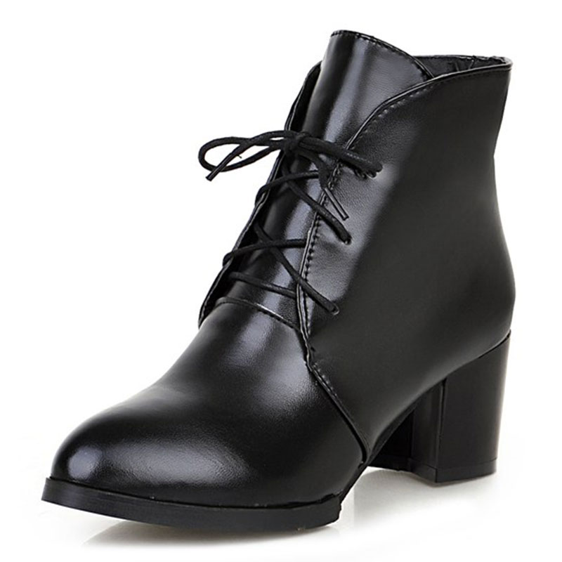 ФОТО autumn simple style pointed-toe solid color  zip woman boots high quality ankle shoes woman med  thick heel boots woman ss232