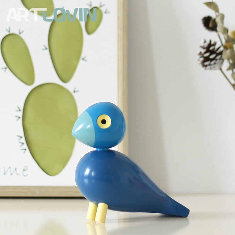 Скандинавские Дания деревянные фигурки птиц резьба по дереву кукольная красочная роспись Скульптура фигурка Животные украшения для украшения дома