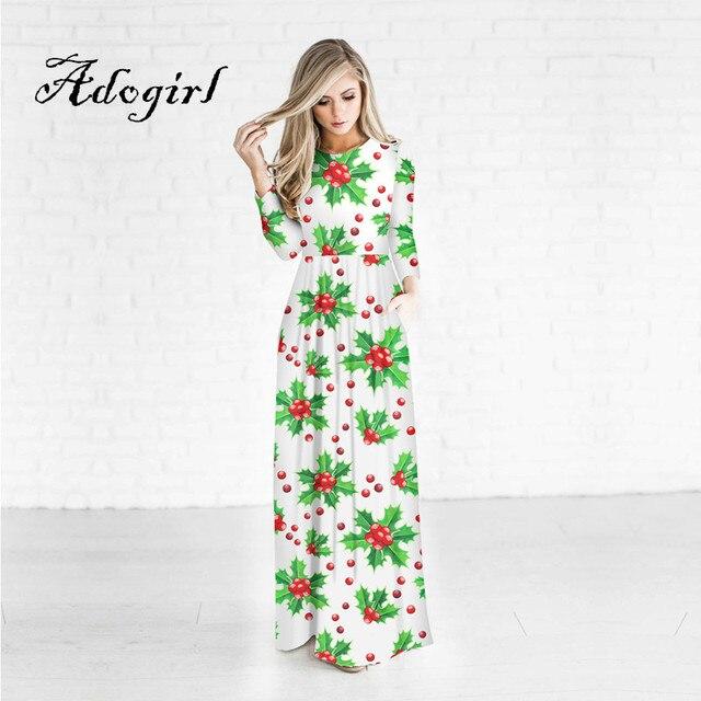 Adogirl 2017 New Women Christmas Dresses One Piece Christmas Berry 3d Print  O Neck Wrist Sleeves Ankle Length Women Party Dress 36da4fc4ba13