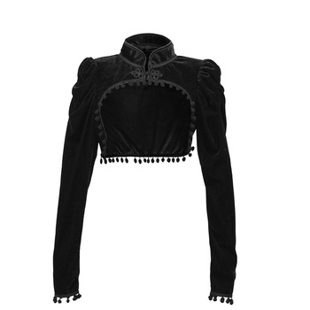 Steampunk negro franela nudo chino de manga larga para mujer abrigo corto Sexy chaqueta prendas de vestir exteriores gótico ropa corsé accesorios 2XL