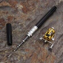 Hot!! Mini Portable Pocket Fish Pen Aluminum Alloy Fishing Rod Pole Reel pesca Wholesale