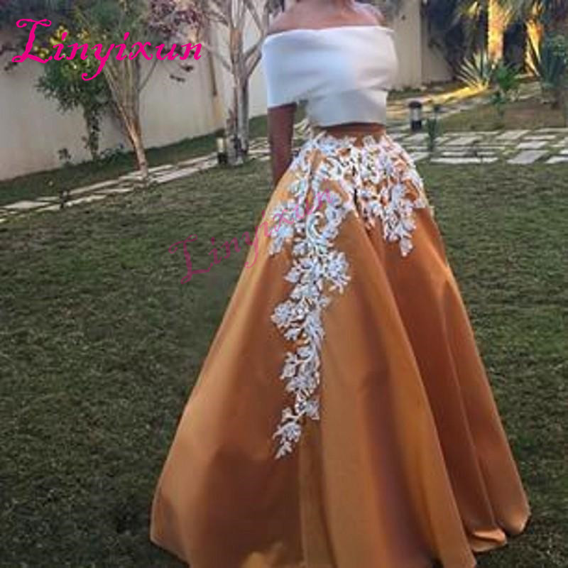 Linyixun Vintage Satin 2018 Two Pieces Prom Dresses Off Shoulder Short sleeve Gold Floor Length Formal Evening Party Dresses