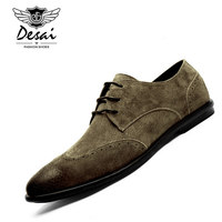 DESAI Brand British Style Men Genuine Leather Suede Shoes Retro Pointed Toe Bullock Oxford Shoes Comfortable