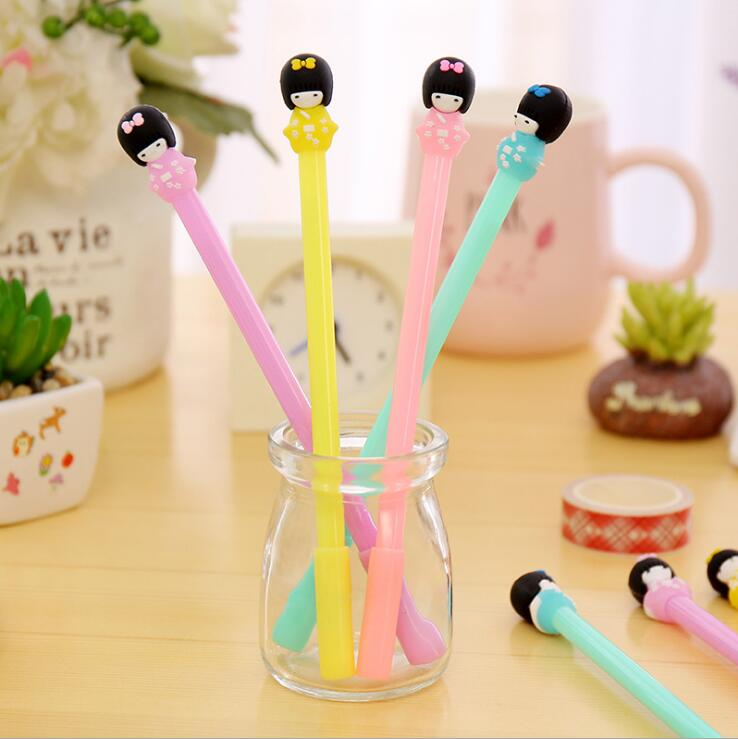 4pcs/lot 0.38mm Cute Candy Color Kimono Girls Gel Pen Promotional Gift Stationery School & Office Supply