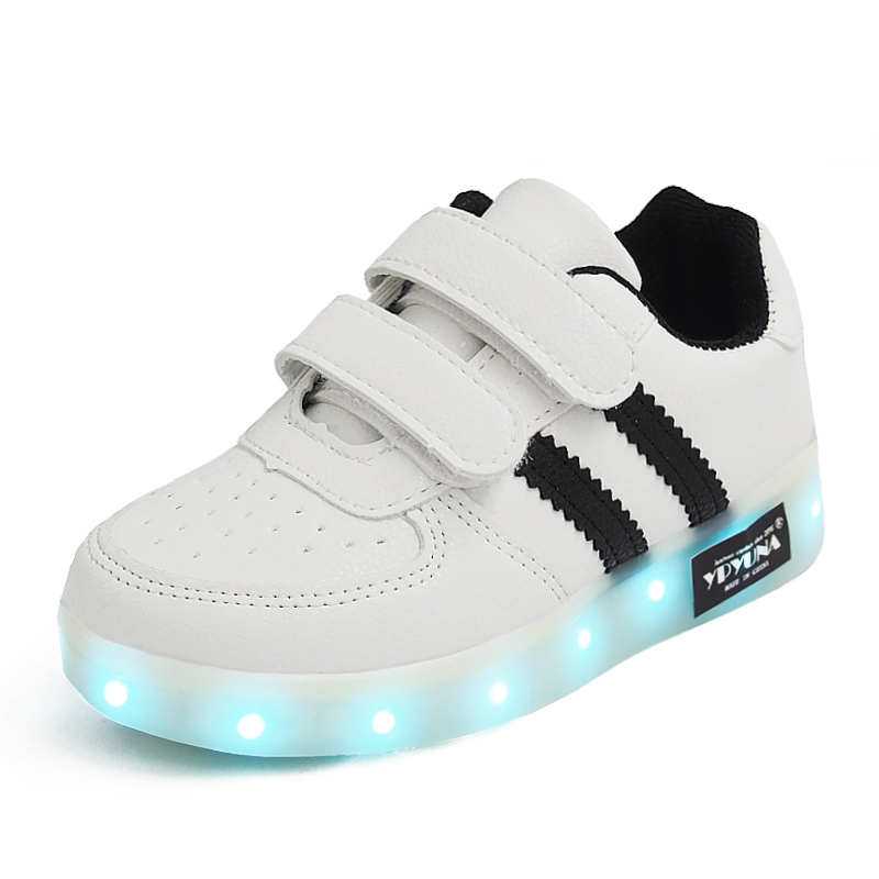 Size 25-34// USB Charger Glowing Girls Sneakers Basket Led Children Lighting Shoes Boys illuminated krasovki Luminous Sneaker A8
