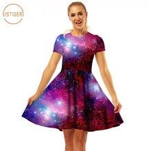ISTider 2018 New Summer Dress Fashion Women High Waist Pleated Dresses 3D  Printed Purple Space Galaxy Dress Sexy Mini Dresses 392420edd732