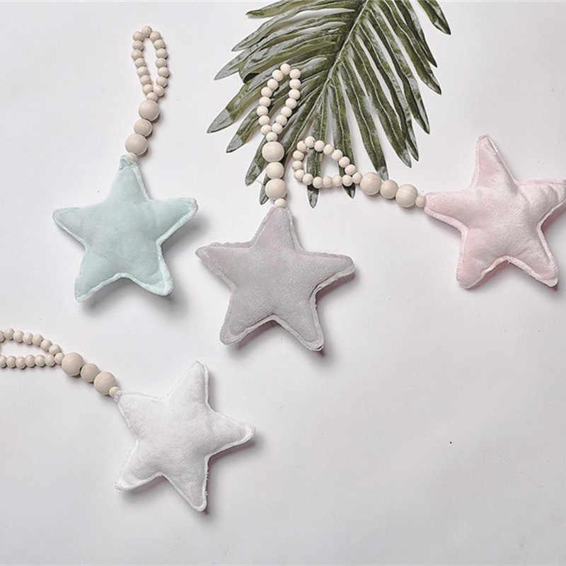 Bayi Bintang Jantung Kayu Manik Garland Chic Dekorasi Bayi Kamar Dinding Dekorasi Bayi Ornamen Anyaman Dinding Gantung Mainan