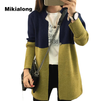 Mikialong 2017 Plus Size Long Cardigan Women Patchwork Knitted Sweater Winter Long Sleeve Womens Jumpers Warm