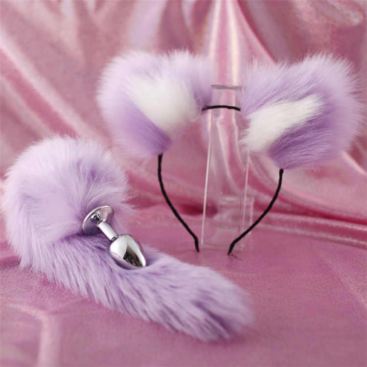 Симпатичные мягкие ободки с кошачьими ушками с 40 см лисий хвост бант металлическая Анальная пробка эротические аксессуары для косплея секс-игрушки для пар для взрослых